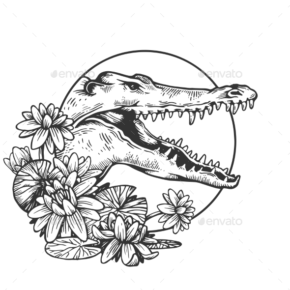 Crocodile Head Animal Engraving Vector - Animals Characters