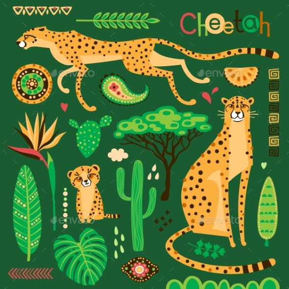 Wild Exotic Cats and Tropical Plants - Animals Characters