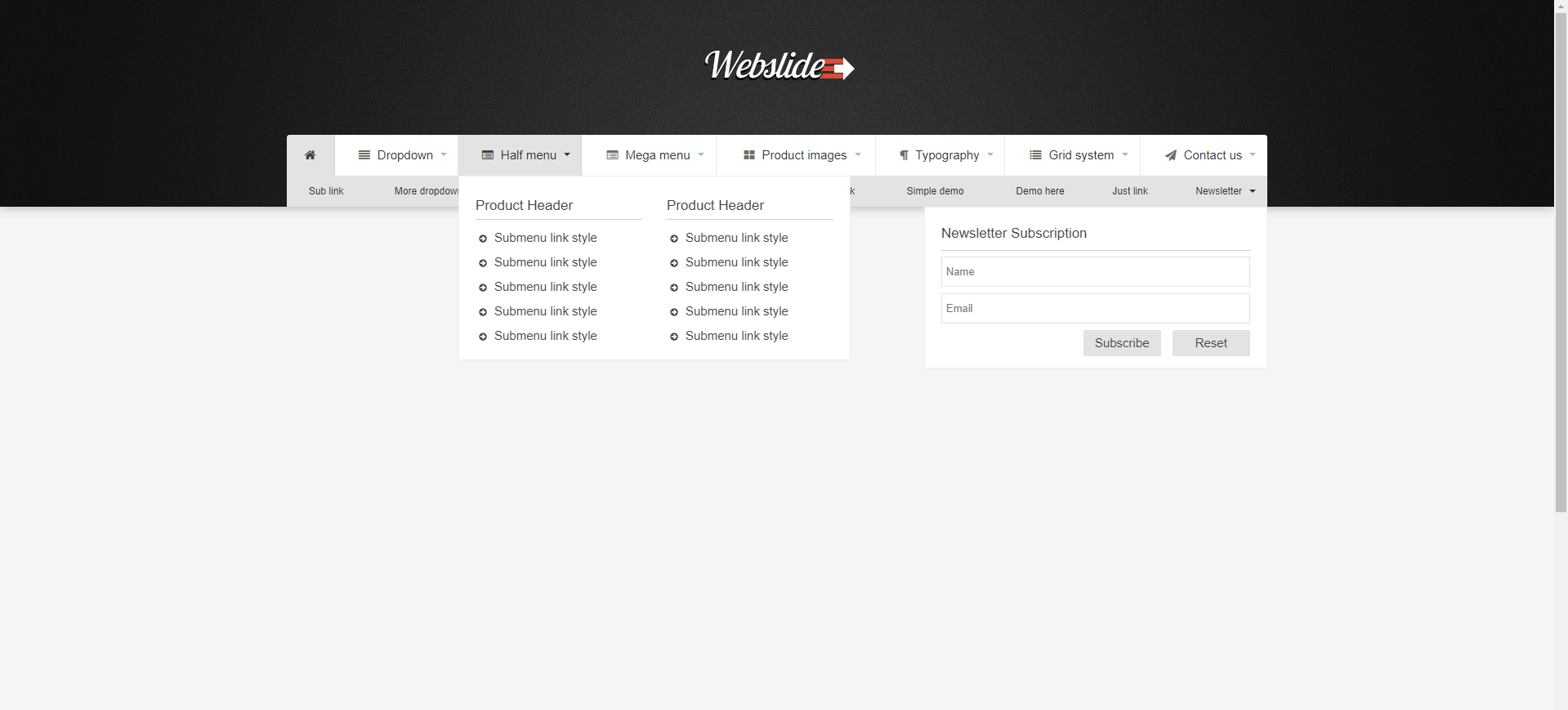 Web Slide - Bootstrap 4 Mega Menu Responsive