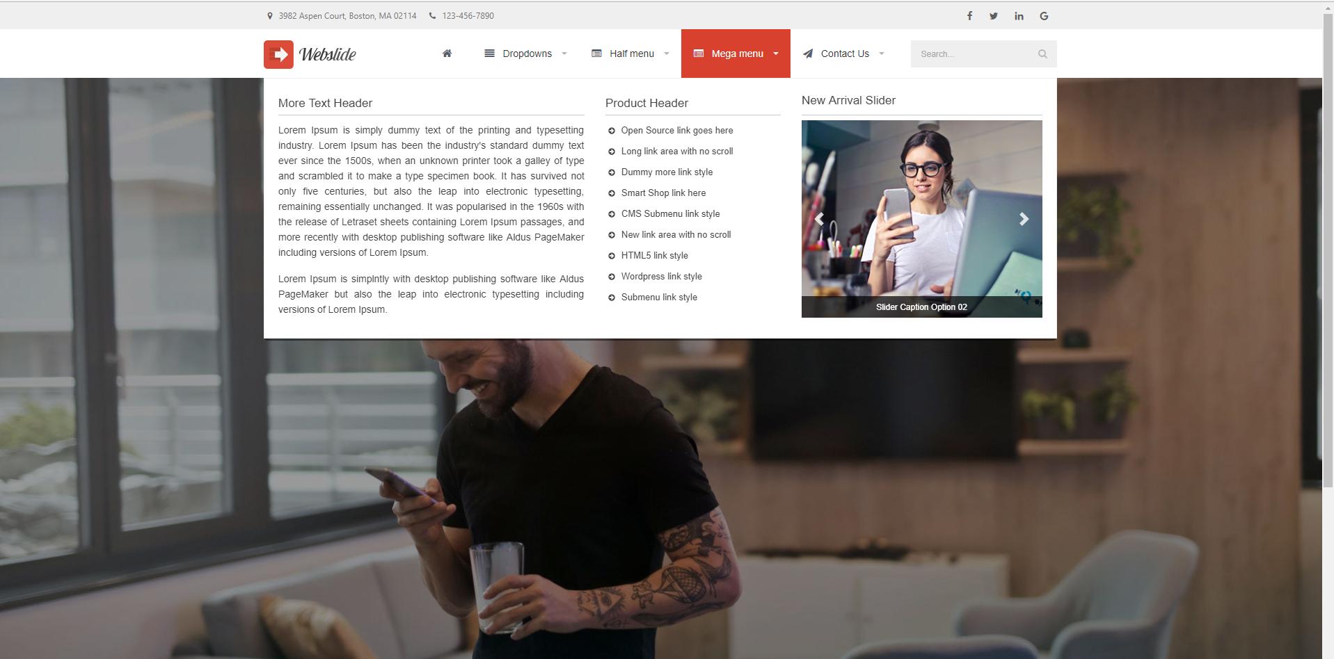 Web Slide - Responsive Mega Menu