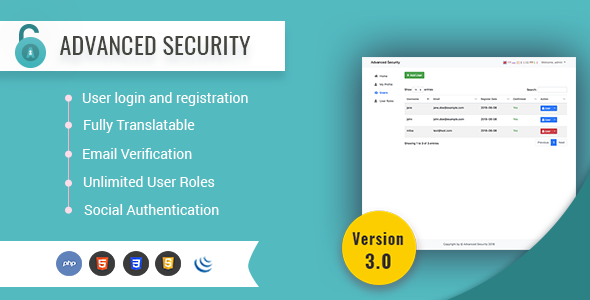 Advanced Security - PHP Register/Login System - CodeCanyon Item for Sale