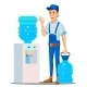 Water Delivery Service Man Vector