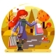 Autumn Shopping Girl at the Park - GraphicRiver Item for Sale