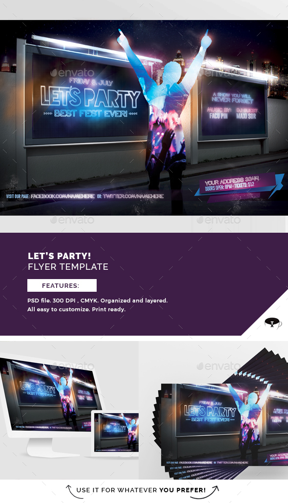 Let´s Party Flyer Template - Clubs & Parties Events