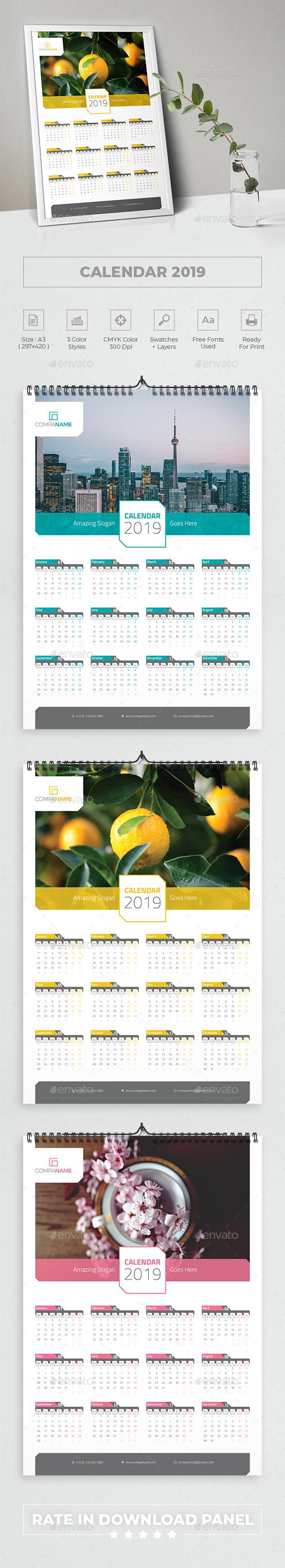 Calendar Poster 2019 - Calendars Stationery