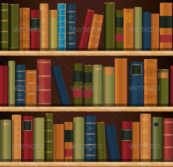 Old Book shelf Repeat Pattern - Patterns Decorative