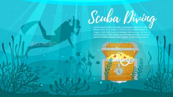 Scuba Diver Explores Treasure Chest - People Characters