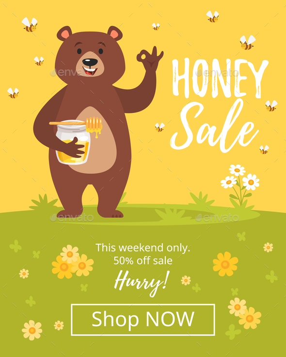 Honey Sale Banner - Animals Characters