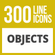 300 Objects Line Inverted Icons