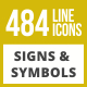 484 Signs & Symbols Line Inverted Icons