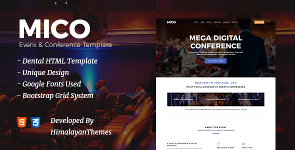 Mico - Conference & Event Landing Page Template