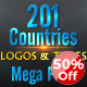 201 World Countries Logo & Titles - Mega Pack - VideoHive Item for Sale