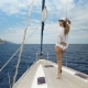 Beautiful Woman on Sailboat on Luxury Summer Lifestyle Happy Adventure Travel Vacation - VideoHive Item for Sale