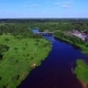 Aerial View of Rural Settlement and Bridge Crossing the River in Russia - VideoHive Item for Sale
