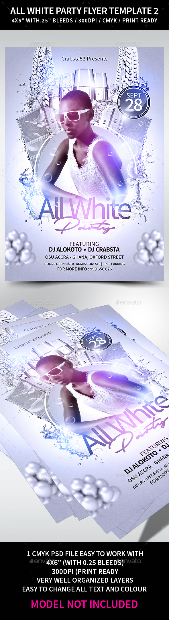All White Party Flyer Template 2