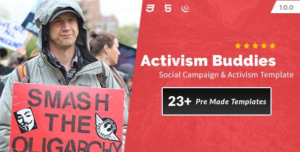 Image of Activism Buddies - Social Campaign & Non Profit HTML5 Template