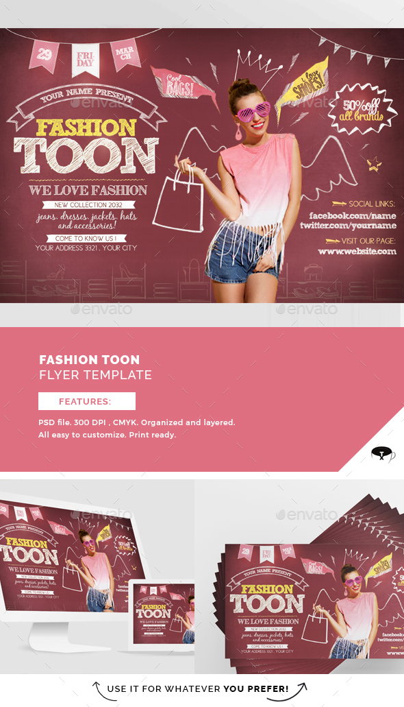 Fashion Toon Flyer Template - Flyers Print Templates