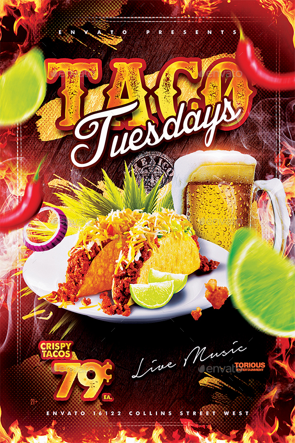 taco tuesdays flyer template by take2design