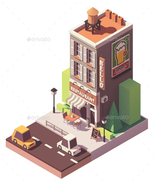 Vector Isometric Retro Restaurant - Buildings Objects