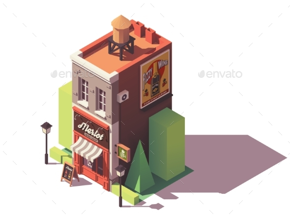 Vector Isometric Wine Shop - Buildings Objects