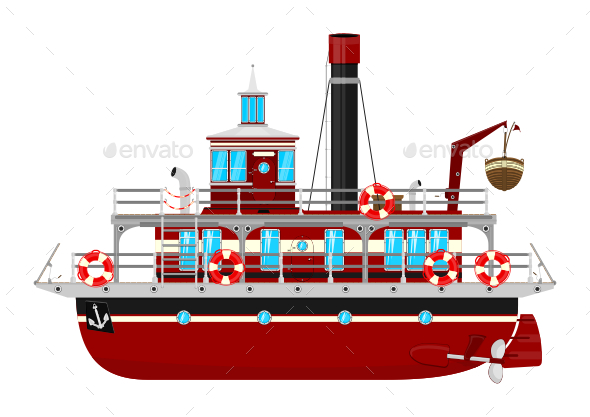 Cartoon Ferryboat - Man-made Objects Objects