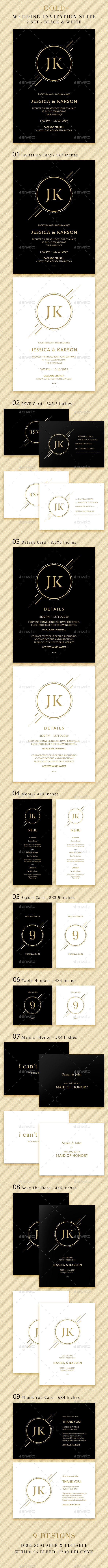 Wedding Invitation Suite - Gold - Weddings Cards & Invites