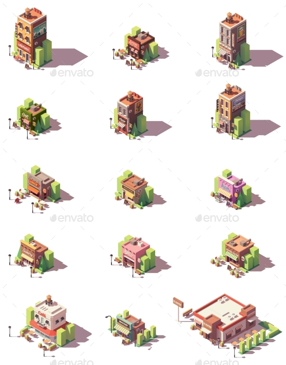 Vector Isometric Restaurants Types Icons - Buildings Objects