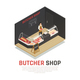 Butcher Shop Isometric Composition