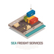 Sea Freight Services Isometric Composition