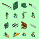 Hunting Isometric Icons Set