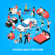 Daily Life Couple Isometric Illustration