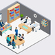 Boss and Employees Isometric Composition