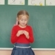 Girl Standing Near the Blackboard - VideoHive Item for Sale