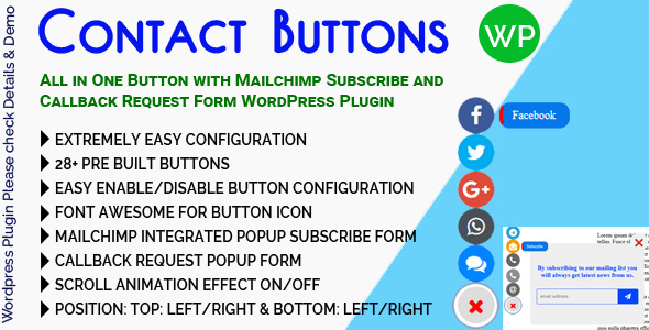 Contact Buttons - All in One Button with Mailchimp Subscribe and Callback Request Form for WordPress            Nulled