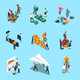 Teamwork Isometric Icons Set