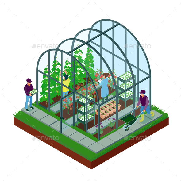 Greenhouse Isometric Composition - Flowers & Plants Nature