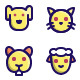 Animal Face Filled Line Icons - GraphicRiver Item for Sale