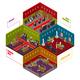 Casino Rooms Isometric Set