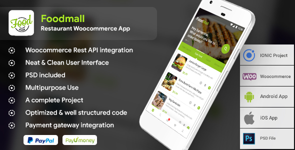Restaurant WooCommerce Android + iOS IONIC 3 Full Application  | Foodmall - CodeCanyon Item for Sale