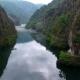 Aerial Matka Canyon in Macedonia Near Skopje, Boat on the Lake