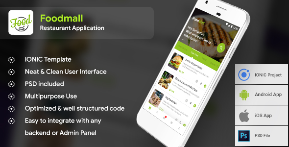 Food Ordering Restaurant Android + iOS App Template (HTML + CSS files in IONIC 3)            Nulled