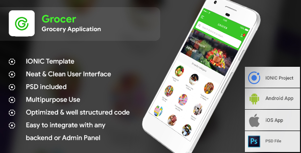 Grocery Android + iOS App Template (HTML + CSS files in IONIC 3) | Grocer            Nulled
