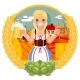 Oktoberfest Girl with Beer Mug Pretzel Poster - GraphicRiver Item for Sale