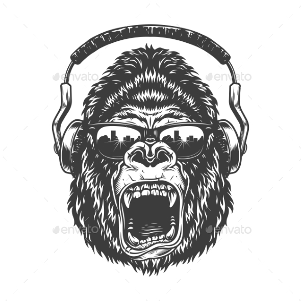 Gorilla with Headphones - Animals Characters