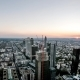 Aerial  of the Frankfurt / Main Skyline and Site of a Skyscraper During Sunset on a Hot Summer Day - VideoHive Item for Sale
