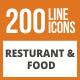 200 Restaurant & Food Line Green & Black Icons