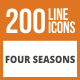 200 Four Seasons Line Green & Black Icons - GraphicRiver Item for Sale