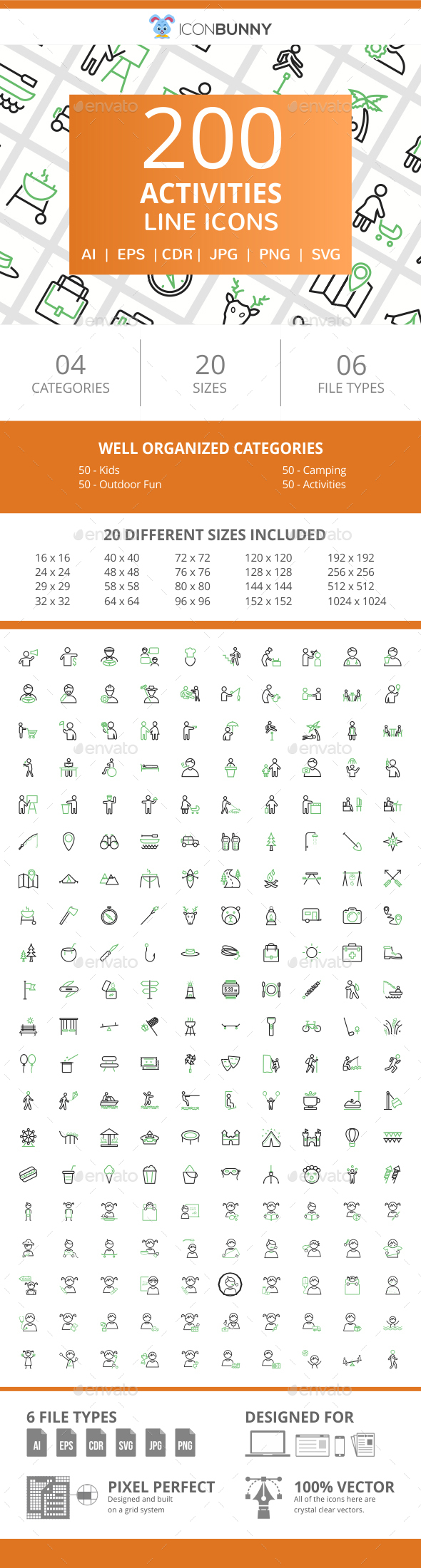 200 Activities Line Green & Black Icons - Icons