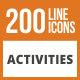 200 Activities Line Green & Black Icons - GraphicRiver Item for Sale