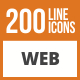 200 Web Line Green & Black Icons - GraphicRiver Item for Sale